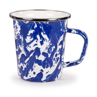 Golden Rabbit Cobalt Swirl Enamelware Latte Mugs (Pack of 4)