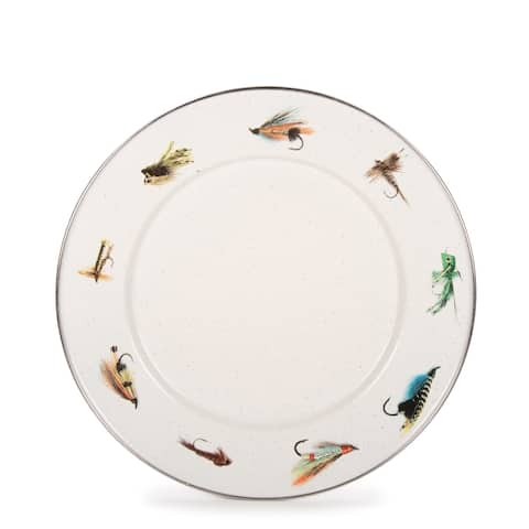 Golden Rabbit Fishing Fly Enamelware Dinner Plates (Pack of 4)