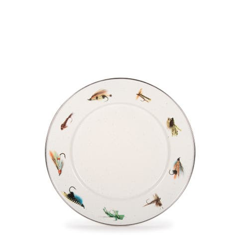 Golden Rabbit Fishing Fly Enamelware Sandwich Plates (Pack of 4)