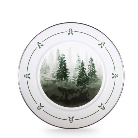 Golden Rabbit Forest Trees Enamelware Dinner Plates (Pack of 4)