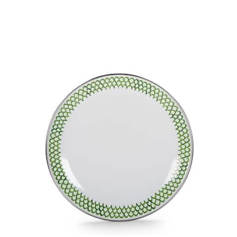 Golden Rabbit Green Scallop Enamelware Sandwich Plates (Pack of 4)