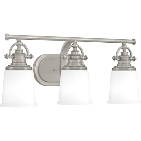 Quoizel Grant Antique Nickel and Etched Opal 3-light Bath Light