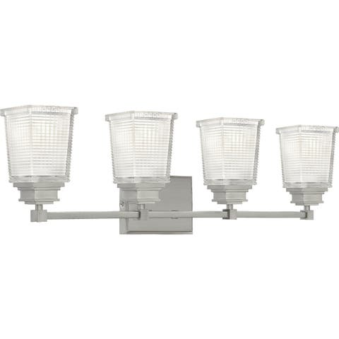 Quoizel Abbott Brushed Nickel and Clear Prismatic 4-light Bath Light