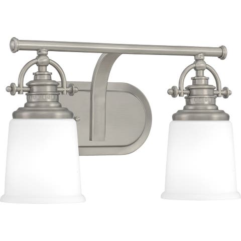 Quoizel Grant Antique Nickel and Etched Opal 2-light Bath Light