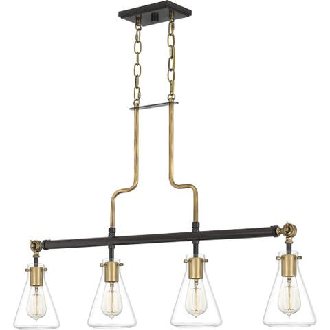 Quoizel McCall Western Bronze and Clear 4-light Island Chandelier