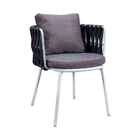 LeisureMod Spencer Modern Rope Frame Patio Cushioned Dining Chair