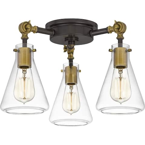 Quoizel McCall Western Bronze and Clear 3-light Semi-flush Mount