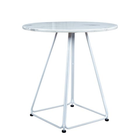"LeisureMod Spencer Modern Patio Marble Top 27.56"" Bistro Table - 27.56"" D"