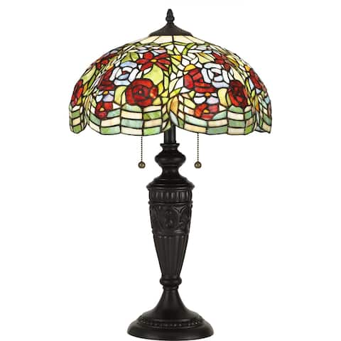 Quoizel Privette Vintage Bronze and Tiffany 2-light Table Lamp
