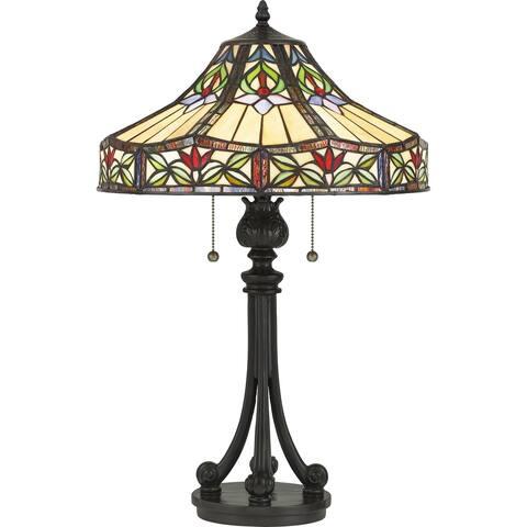 Quoizel Geller Vintage Bronze and Tiffany 2-light Table Lamp