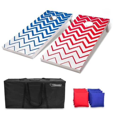 GoSports Chevron Pattern Regulation Size Wooden Cornhole Set - Includes Boards, 8 Bean Bags, Carrying Case and Game Rules