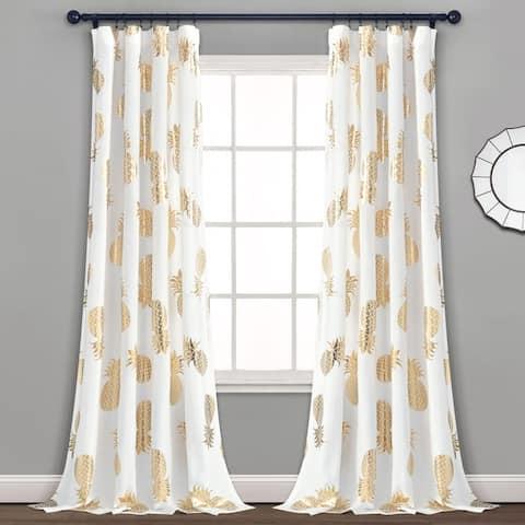 Lush Decor Pineapple Toss Window Curtain Panel Pair