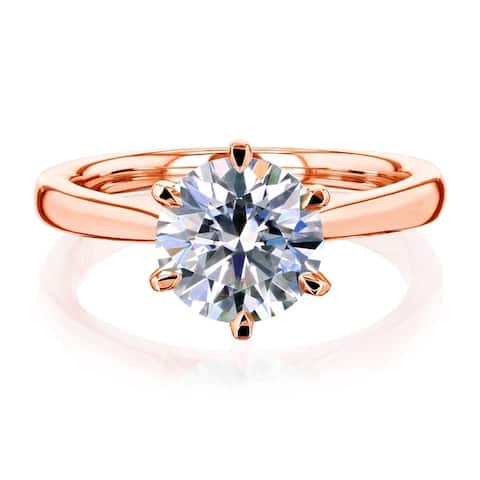 Annello by Kobelli 14k Gold 1.9 Carat Round Moissanite Solitaire 6-Prong Comfort Fit Engagement Ring (HI/VS)