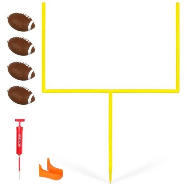 GoSports PRO Kick Challenge Field Goal Post Set with 4 Footballs and Kicking Tee
