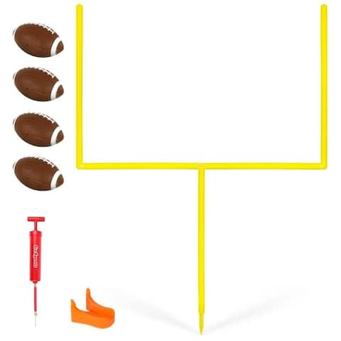 GoSports PRO Kick Challenge Field Goal Post Set with 4 Footballs and Kicking Tee
