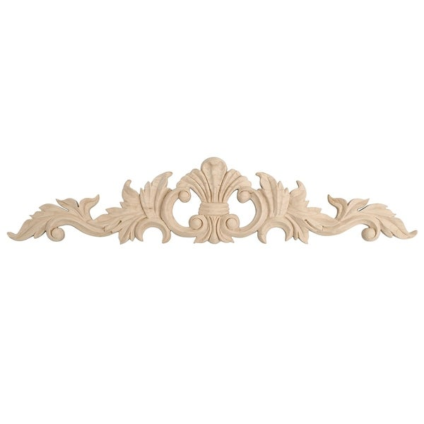2-5/8 in. x 12 in. x 3/8 in. Unfinished Hand Carved North American Solid Hard Maple Wood Onlay Acanthus Wood Applique