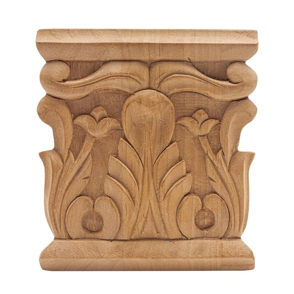 3-1/8 in. x 3 in. x 1/2 in. Unfinished Hand Carved North American Solid Cherry Acanthus Wood Onlay Capital Wood Applique