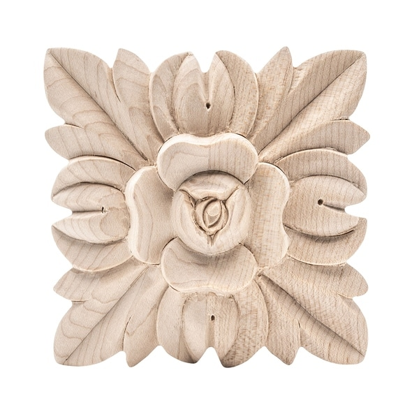 3-3/4 in. x 3-3/4 in. x 7/8 in. Unfinished Hand Carved North American Solid Hard Maple Wood Onlay Floral Wood Applique