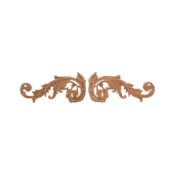 2-1/2 in. x 5-1/2 in. x 3/8 in. Unfinished Small Hand Carved North American Solid Cherry Wood Onlay Acanthus Wood Scroll