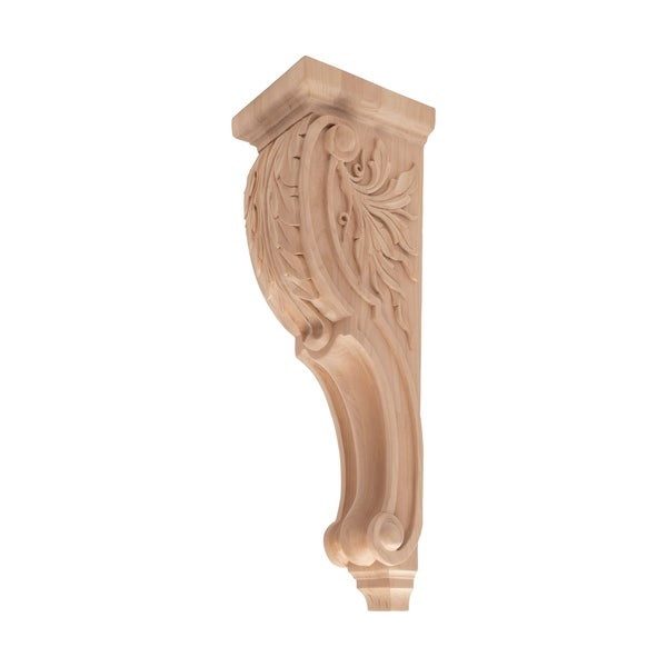 26-1/2 in. x 7-3/8 in. x 8-1/2 in. Unfinished X-Large Hand Carved North American Solid Alder Acanthus Leaf Wood Corbel