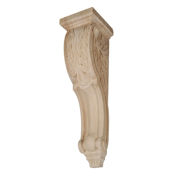 12-1/2 in. x 5-1/8 in. x 5-3/8 in. Unfinished Hand Carved North American Solid Hard Maple Acanthus Leaf Wood Corbel