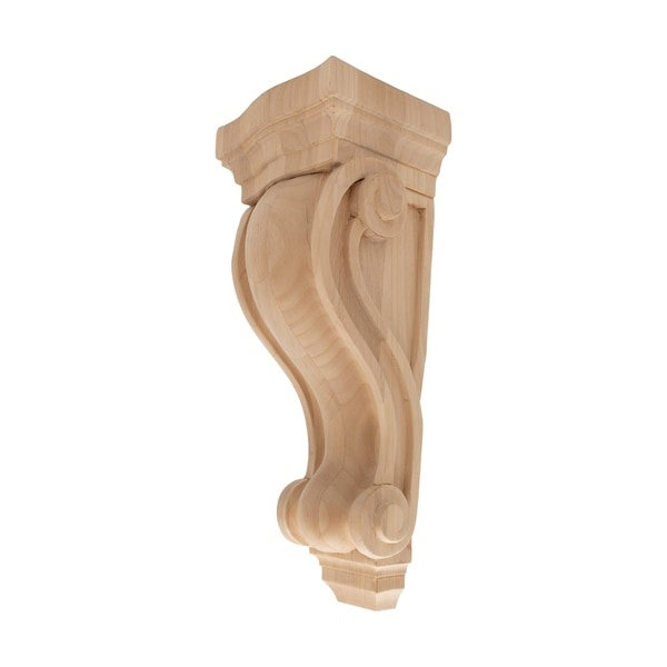 13 in. x 5-3/8 in. x 4-1/2 in. Unfinished Large North American Solid Alder Classic Traditional Plain Wood Corbel
