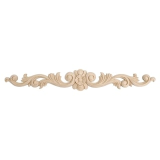 3-1/2 in. x 24 in. x 5/8 in. Unfinished Hand Carved North American Solid Hard Maple Wood Onlay Floral Wood Applique