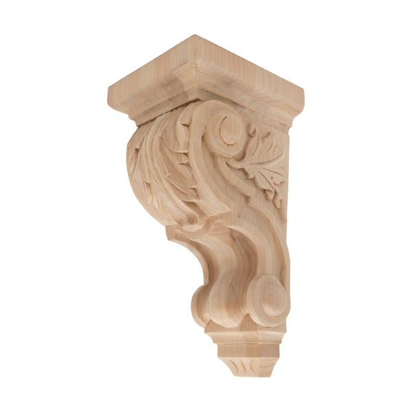 10 in. x 4-3/4 in. x 5-3/8 in. Unfinished Small Hand Carved North American Solid Alder Acanthus Leaf Wood Corbel