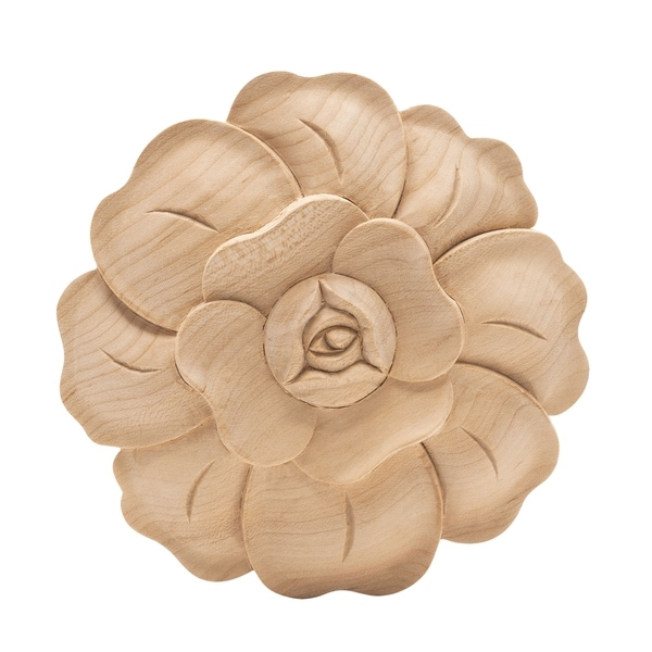 4-7/8 in. x 3/4 in. Unfinished Large Hand Carved North American Solid Hard Maple Wood Onlay Rose Wood Applique