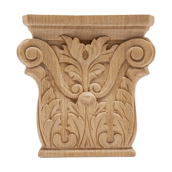 4 in. x 3-7/8 in. x 1 in. Unfinished Hand Carved North American Solid Alder Acanthus Wood Onlay Capital Wood Applique
