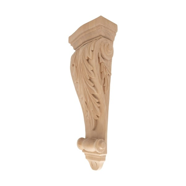 15-3/8 in. x 5-7/8 in. x 2-5/8 in. Unfinished Medium Hand Carved North American Solid Alder Acanthus Leaf Wood Corbel