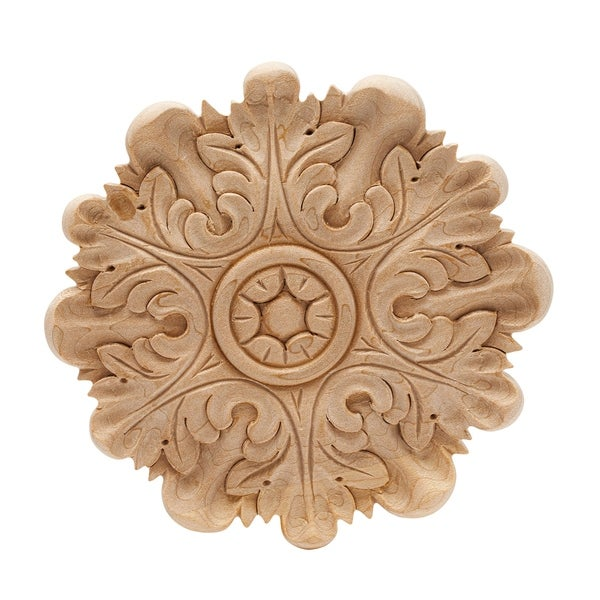 5 in. x 1/2 in. Unfinished Medium Hand Carved North American Solid Hard Maple Rosette Acanthus Wood Applique