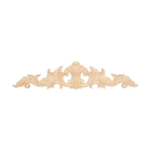 3-7/8 in. x 18-1/4 in. x 1/2 in. Unfinished Hand Carved North American Solid Red Oak Wood Onlay Acanthus Wood Applique