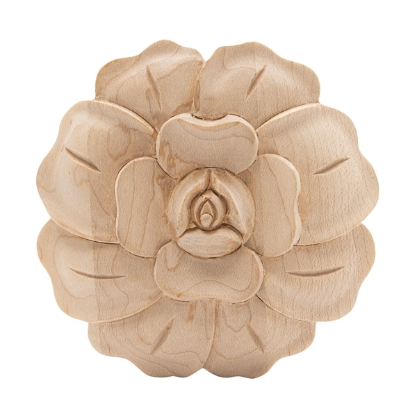 3-3/4 in. x 5/8 in. Unfinished Medium Hand Carved North American Solid Hard Maple Onlay Rose Applique-American Pro Decor