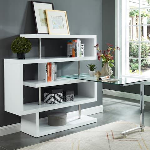 Furniture of America Livia Contemporary Modular L-Shape Bookcase Desk