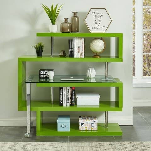 Furniture of America Livia Contemporary Modular L-Shape Bookcase Desk
