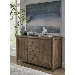 Wooden Sideboard with Three Drawers and Two Side Door Cabinets, Oak Brown
