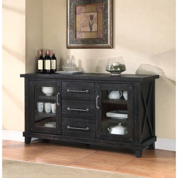 Multi Storage Wooden Sideboard with Two Glass Door Cabinets and Three Drawers, Brown