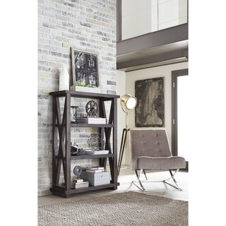 Three Tier Wooden Bookshelf with Exposed Bolts and Rustic Cross Bracing, Brown
