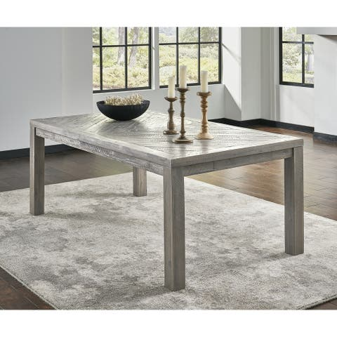 Rectangular Dining Table with Fixed Top and Block Legs, Rustic Latte Gray