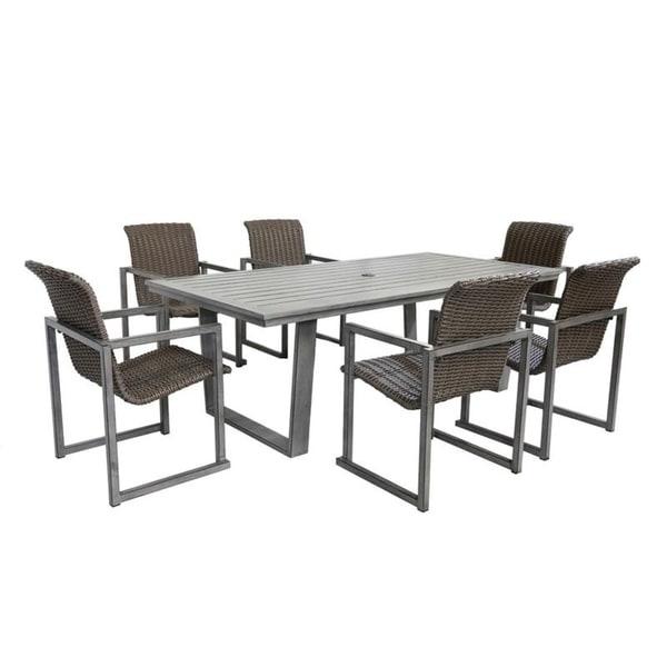 Sarasota Wicker 7 Piece Rectangular Dining Set with 6 Arm Chairs