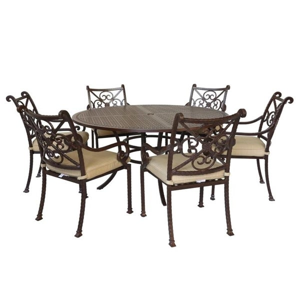 Sanibel Cast Aluminum 7 Piece Round Dining Set with 6 Arm Chairs