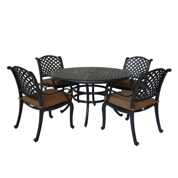 Ventura Cast Aluminum 5 Piece Round Dining Set with 4 Arm Chairs