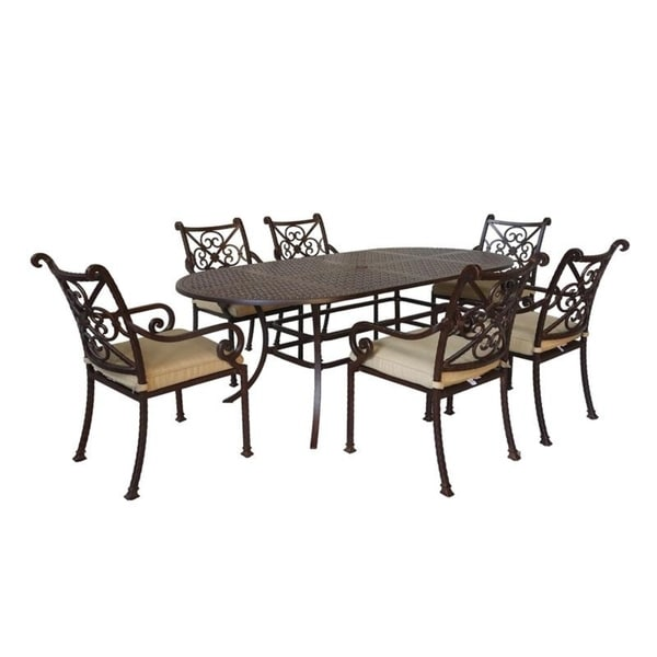 Sanibel Cast Aluminum 7 Piece Oval Dining Set with 6 Arm Chairs