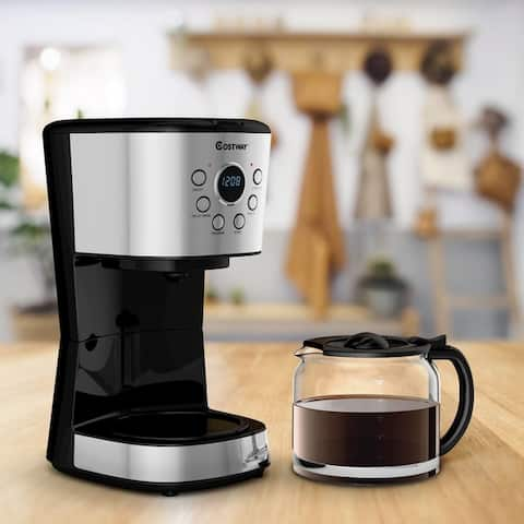 12-Cup Programmable Coffee Maker with LCD Display & 24hrs Timer