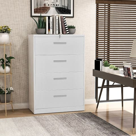 Merax 4 Drawers Lateral File Cabinet with Lock