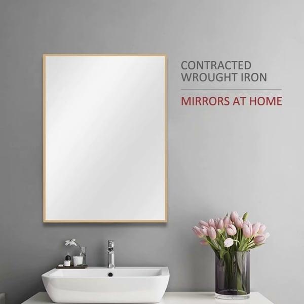 Modern Rectangle Gold Wall-Mounted Bathroom Vanity Mirror