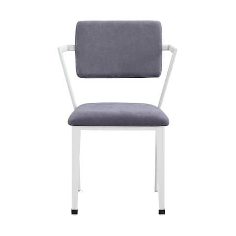 Metal Chair with Fabric Upholstery and Straight Legs, Gray and White