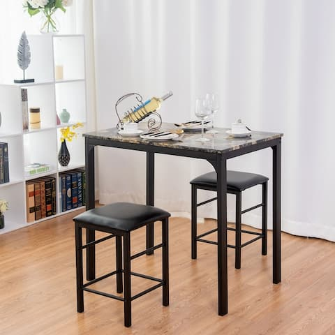 3-piece Counter Height Rectangle Dining Table and 2 Stools Faux Marble