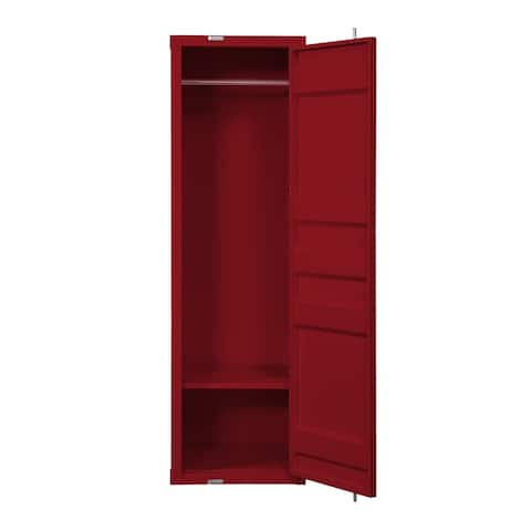 Single Door Wardrobe with Double Storage Compartment and Cremone Bolt, Red